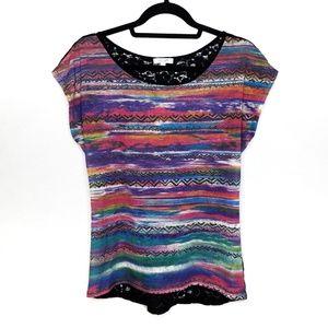 Delia's Rainbow Print Crochet Lace Back Top, Sz L